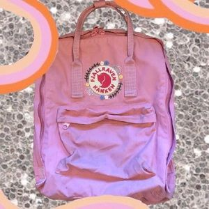 Classic Size Pink Embroidered Fjallraven Kanken